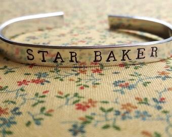 Star Baker Handstamped Aluminium Cuff Bracelet