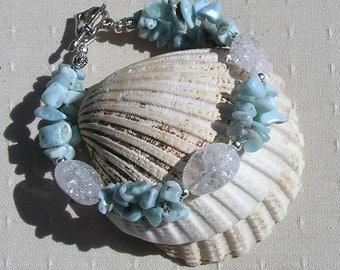 "Larimar & Crackled Clear Quartz Crystal Gemstone Bracelet ""Dominican Dew"", Blue Bracelet, Quartz Bracelet, Chakra Bracelet, Larimar Bracelet"
