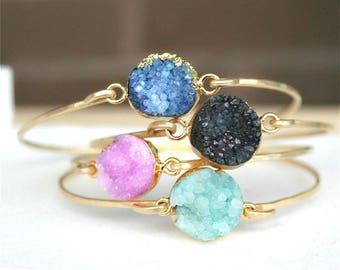 Druzy bangle bracelet, Stone bracelet, Gold bracelet, Blue, Rose, Black, Brown, Emerald Bracelet, Gitfs for her, Gold bangle, Gold filled