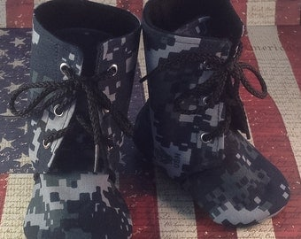 Navy Baby Combat Boots | Military | Newborn size up to 3T | FREE Shipping in the US