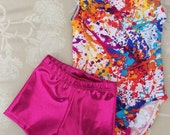 Ready to ship...Gymnastics leotard OUTFIT.....any sizes from child XXS(2T) to Child XL 10 (adult petite 10)