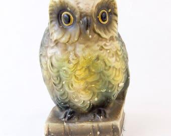Owl Figurine, Vintage Owl Bookend, Chalkware Plaster Figurine
