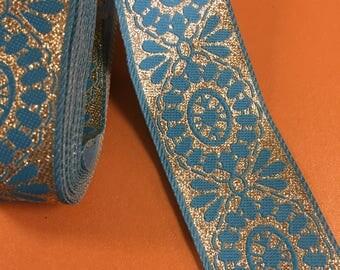 """NUEVO 1.5"""" de ancho exóticas oro metálico y diseño azul aqua para disfraz Renacimiento ST Box A la cinta del brocado"""