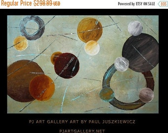 15% OFF /ONE WEEK Only/ The Planets abstract knife by Paul Juszkiewicz brown red blue yellow