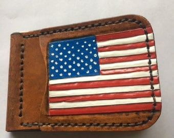 Personalized American Flag Leather Money Cardholder