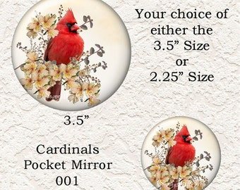 "Cardinal Pocket Mirror, Choose from 4 Different Prints, 3.5"" or 2.25"" Size, Buy 3 Mirrors Get 1 Mirror Free 626"