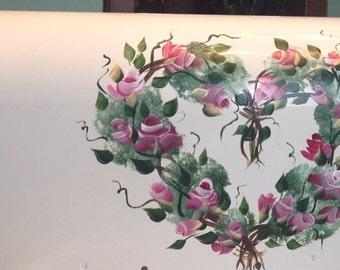Painted MAILBOX Roses Heart Vine mailbox UV Resistant Paints Heart mailbox Roses mailbox