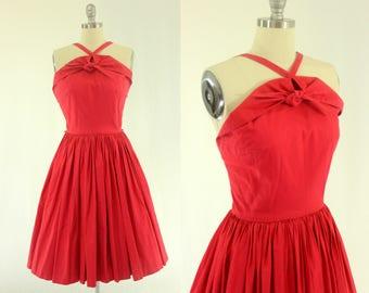 1950's Red Sun Dress S M 25 Waist Full Skirt
