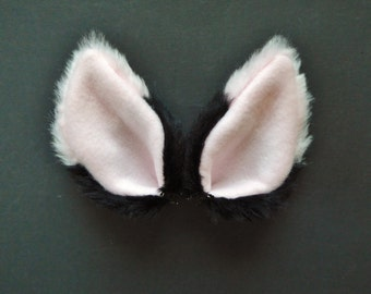 Baby Pink and Black Faux Fur Ears Fox Cat Wolf Dog Halloween Costume Cosplay Lolita Goth