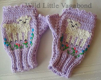 """READY TO SHIP """"Little Sheep""""  Hand Knit and Embroidered Fingerless Gloves"""
