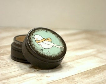 Pill Box, Little Bird with Scarf, Yellow scarf, Birds, Winter, Whimsical, Birdie, Powder Box, Small Pill Boxes, Gift Box, Ring Box, Wood box