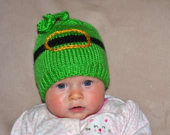 Hand knit green  baby hat Shamrock   St. Patrick  beanie Newborn to  pick your size  Munchkins   Mint Clover black Irish holiday  photo prop