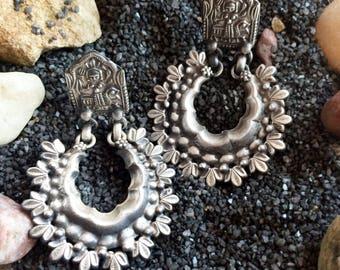 Tribal Sterling Silver Earring-Antique earrings-.925 Silver earrings,Ethnic jewelry,Aztec jewelry-handmade OOAK Earrings by Taneesi