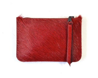 Red Hair On Hide Leather Zip Pouch Purse Wallet Handmade