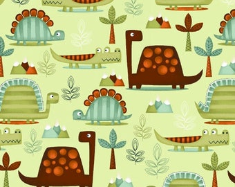 Dino Riffic Dinosaur Fabric Prehistoric Dinos in Forest Jungle on Green by StudioE- One yard