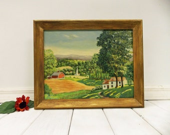 Vintage Folk Art Painting--- Summer Country Scene--- Framed Primitive Art