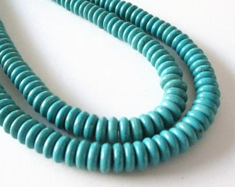 """Turquoise Rondelle Beads - Blue Turquoise Howlite Round Beads - Smooth Center Drilled Gemstone - DIY Jewelry Making - 8mmx3mm - 16"""" Strand"""