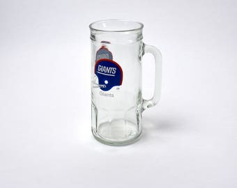 1980's New York Giants Drinking Glass - Fishers Peanuts