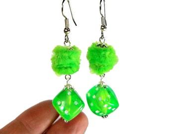 Neon Dangle Earrings, Fuzzy Dice Earrings, Neon Jewelry, Rockabilly Earrings, Lime, Orange, Pink