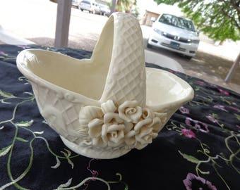 Basket   White Rose Embellished Porcelain Basket