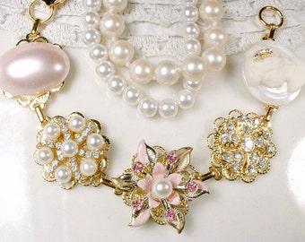 Blush Pink & Ivory Pearl Gold Bridal Bracelet, Rhinestone Cameo Vintage Cluster Earring Bracelet OOAK Bridesmaids Gift, Country Wedding