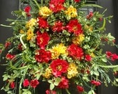 Spring Wreath, Poppy Wreath, Hydrangea Wreaths, Spring Door Wreath, Summer Wreath, Wild Red and Yellow Wreaths