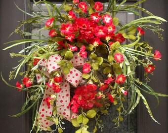 Red Spring Wreath, Summer Wreath For Front Door, Wild Summer Wreath, Red Wreaths, Morning Glory Wreath