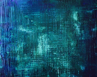 FREE SHIPPING in US**Sapphire blue Abstract Painting. Deep Blue Ocean Art.  Turquoise Blue Impasto, Texture, Deep Blue Ocean Art -24x30.