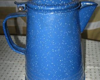 Blue Graniteware Coffee Pot Blue Speckled Graniteware~Enamelware~Cabin Decor~Farmhouse Decor~Camping