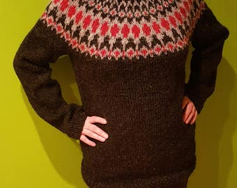 Hand knitted Icelandic sweater - 100% natural - reserved listing
