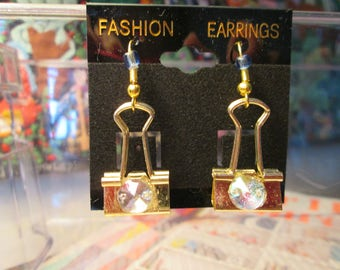 GOLDEN Binder Clip Earrings with Iridescent Clear Bead
