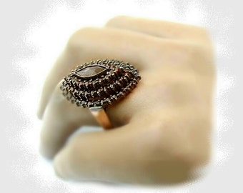 Bohemian marquise shaped garnet ring // ГРАНАТ#PK