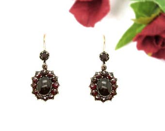Classic Vintage oval garnet cabouchon earrings || ГРАНАТ OX7LFH.W#PK