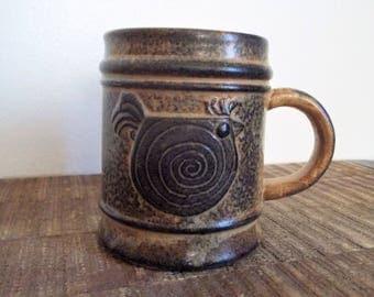 Vintage Stylized Danish Modern Brown Pottery Bird Mug