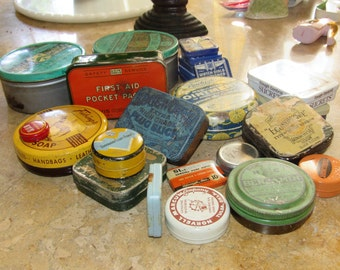 Vintage Tins, Destash Vintage Tins, Various Sizes and Shapes, Re-purpose Tins, Home and Living, Storage, Organization, Boxes, Bins, Tins