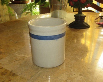 Vintage Stoneware Crock, Salt Glaze Pottery, Crock for Utensils, Kitchen Storage for Utensils,