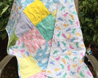 "Baby Quilt, Flannel with Pastel Blocks and Baby Foot Prints, 30"" X 36"""