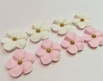 LOT of 100 white and pink Royal Icing Flowers w/ gold sugar balls for Cake Decorating