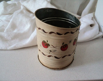 Vintage 1950s Handpainted Bromwell Flour Sifter. Painted with Strawberries.