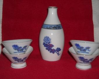 Vintage Kiku-Masamune Sake Set  Japan with 4 sake cups china porcelain