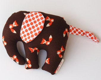 Elephant -- elephant softie -- elephant toy -- baby gift -- new baby gift -- baby boy -- baby boy gift -- foxes -- elephant nursery -- decor