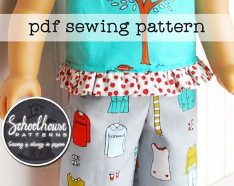"18"" american girl sewing pattern doll pajama pants - shirt - pillow & case - sleeping bag combo -  PDF INSTANT DOWNLOAD"