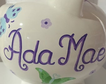 Personalized Large Piggy  Bank Nojo Purple Butterflies Newborns , Girls , Baby Shower Gift Centerpiece