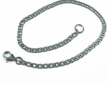 Oxidized Sterling Silver Chain -Silver Necklace, Sliver Bracelet, Silver Anklet-Double Diamond Cut Curb -3 by 5mm -All Sizes -Sku: 601035-OX