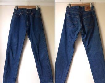 Vintage 1990s Levi's 517 mid blue high-waisted jeans / Straight-leg Levi's, similar to 501s - 28 inch waist, 31 leg