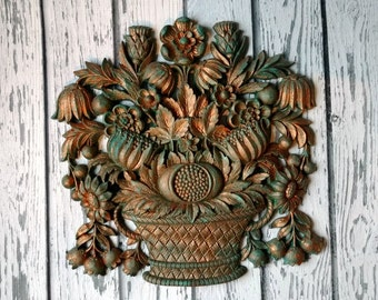 Vintage Syroco Flower Basket - Homco USA - Flower Wall Hanging - Syroco Wall Art -