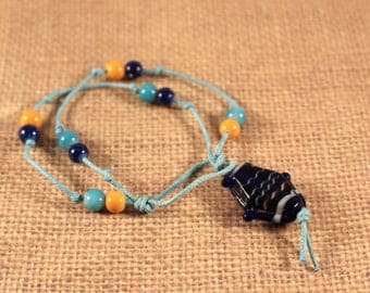 knotted Beaded Nautical Fish Bracelet in Blue and Orange