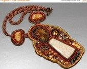 Holiday Sale Bead Embroidered Necklace Fossil Coral Ammonite Brown