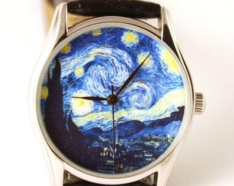 ON SALE 30% OFF Van Gogh Starry Night Watch, Classical Wrist Watch, Watches, Wristwatch, Ladies Watch, Anniversary Gift, Gift Idea