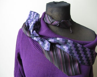 Purple Cowl Neck Sweater detailed with Repurposed Neckties, Off Shoulder Purple Sweater, Up Cycled Sweaters, Refashioned Clothing, Hipster